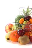 Fruit Mix in the Shopping basket Stock Images