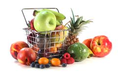 Fruit Mix in the Shopping basket Royalty Free Stock Photo