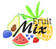 Fruit mix sticker in watercolor style Royalty Free Stock Photography