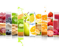 Fruit Mix Stripes. Photo of colorful mix stripes with fruit, slices, splash and drink; healthy eating concept; white space for text stock image