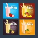 Fruit mix sweet milkshake dessert cocktail Stock Photo
