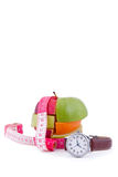Fruit mix and watch Royalty Free Stock Photo