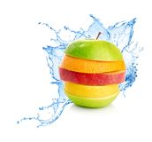 Fruit mix in water splash Royalty Free Stock Photos