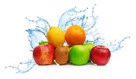 Fruit mix in water splash Royalty Free Stock Photography