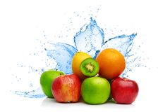 Fruit mix in water splash Stock Image
