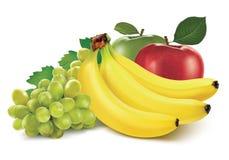Fruit mix on white Stock Photos