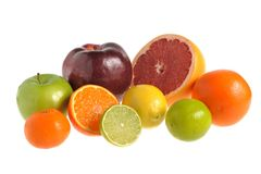 Fruit mix on white isolated Royalty Free Stock Images