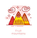 Fruit mountains and cotton candy clouds in thin line flat design. Fun food vector banner Royalty Free Stock Images