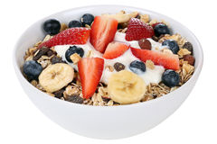 Fruit muesli for breakfast in bowl with fruits like banana and s Royalty Free Stock Photos