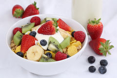 Fruit muesli with yogurt for breakfast Stock Photos