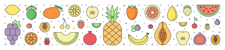 Fruit multicolored horizontal background. Simple outline design. Stock Photo