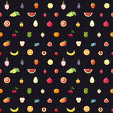Fruit multicolored seamless vector pattern with dots. Modern flat design. Stock Image
