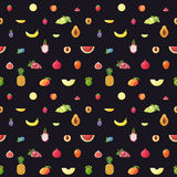 Fruit multicolored seamless vector pattern. Modern flat design. Stock Photos