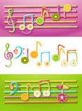Fruit Music. Vector collection of musical symbols made up of fruit slices and drinking straws Royalty Free Stock Photo