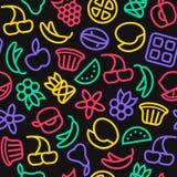 Fruit naadloos patroon in dunne lijnstijl stock illustratie