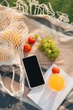 Fruit net bag with flip flop, phone, notebook on the plaid.  stock photos