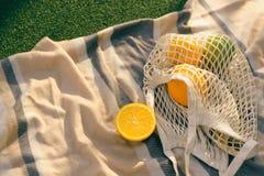 Fruit netto zak op de plaid op het gebied stock afbeeldingen