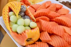 Fruit and nice decorate of Fruit Carving royalty free stock images