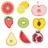 Fruit. Nine bright colorful fruits. Digital art. Vector Royalty Free Stock Images