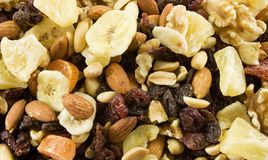 Fruit and Nut. Medley texture Stock Images