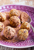 Fruit and nut balls. Dusted in cocoa powder Stock Photography