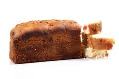 Fruit and nut cake. Isolated on white background royalty free stock image