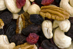 Fruit and nuts. A  picture of a selection of dried fruits and nuts Stock Photo