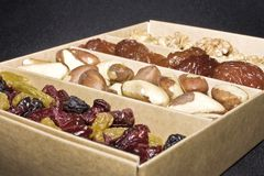 box of fruit and nuts Royalty Free Stock Images