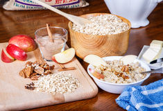 Fruit and Nuts for Fresh Hot Oatmeal Royalty Free Stock Images