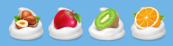 Fruit nuts in yogurt. Hazelnuts, kiwifruit, red apple, orange realistic vector icon Stock Image