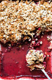 Fruit oatmeal crumble in baking tray Royalty Free Stock Photo