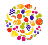 Fruit objects in round Royalty Free Stock Images