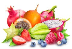 Fruit op witte achtergrond wordt geïsoleerd die Royalty-vrije Stock Afbeelding