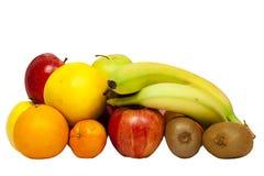 Fruit op witte achtergrond wordt geïsoleerd die inzameling stock fotografie