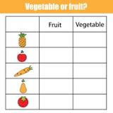 Fruit Or Vegetable Educational Children Game, Kids Activity Sheet Stock Photos