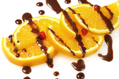 Fruit  orange with chocolate glaze Royalty Free Stock Photos