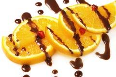 Fruit  orange with chocolate glaze Royalty Free Stock Photos