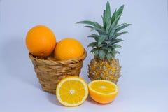 Fruit orange d'ananas d'isolement sur le fond blanc Photo libre de droits