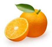 Fruit orange frais avec la feuille verte et demi entiers Photographie stock libre de droits