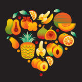Fruit Orange Heart Stock Images