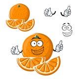 Fruit orange heureux de bande dessinée avec des tranches Photo libre de droits