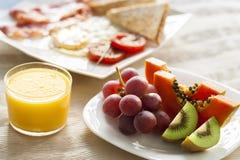 Fruit and orange juice close up. Stock Photography