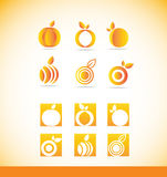 Fruit orange logo icon set Royalty Free Stock Images