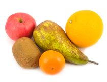 Fruit orange and pear. Fruit orange and apple with pear on white background Royalty Free Stock Photography
