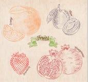 Fruit orange, plum, strawberry, pomegranate Royalty Free Stock Photos