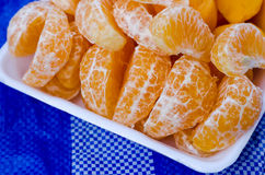 Fruit orange on white tray stock photos