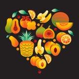 Fruit Oranje Hart Stock Afbeeldingen