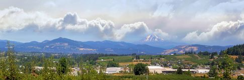Fruit Orchards in Hood River Oregon Panorama. Fruit orchard farms in the valley of Hood River Oregon in summer Panorama stock photography