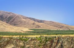 Fruit orchards at the foothills of mount Aragats over the Kasakh river canyon near Ashtarak city royalty free stock photo
