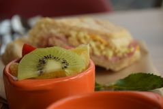Fruit and panino at pizza hut stock image